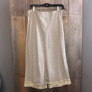 Clio Skirts - CLIO Cotton Size 8 Long Stripped Laced Skirt